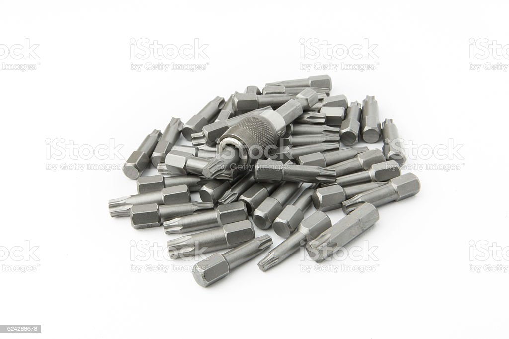 Set of screwdriver bits (torx heads) stock photo