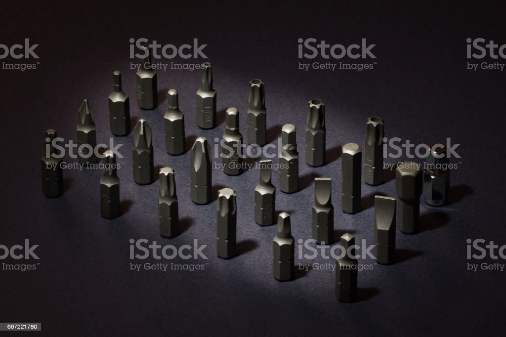 Set of screwdriver bits stock photo