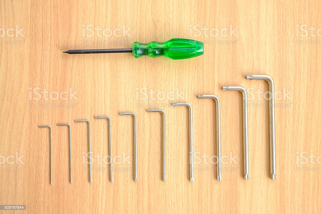 Set of screwdrivers and hexagon wrenchs stock photo