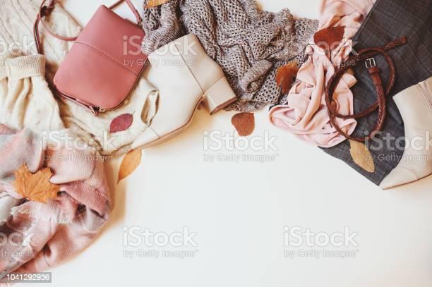 Set of seasonal autumn fashion woman clothes top view with copy space picture id1041292936?b=1&k=6&m=1041292936&s=612x612&h=guksn63aoazpu8intxg0 cp2gvldddylvmivgsttutq=