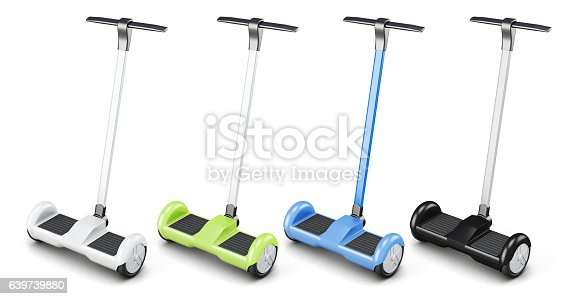 istock Set of segway with handle on white background. 3d rendering 639739880