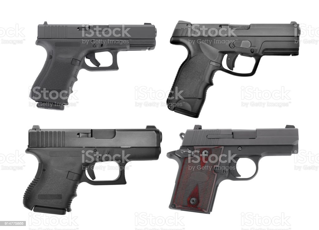 set of semi automatic 9 m.m handgun pistol isolated on white background stock photo