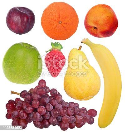 set of ripe fruits isolated on white background