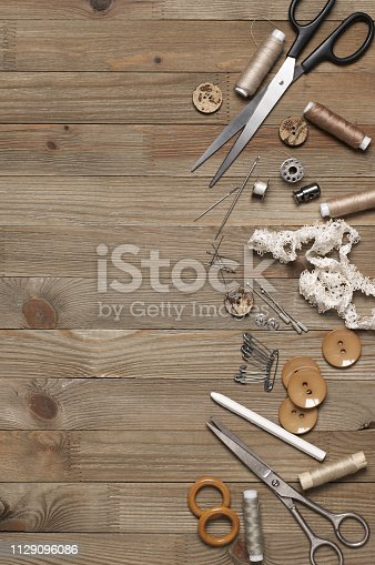 istock Set of sewing tools and accessories 1129096086