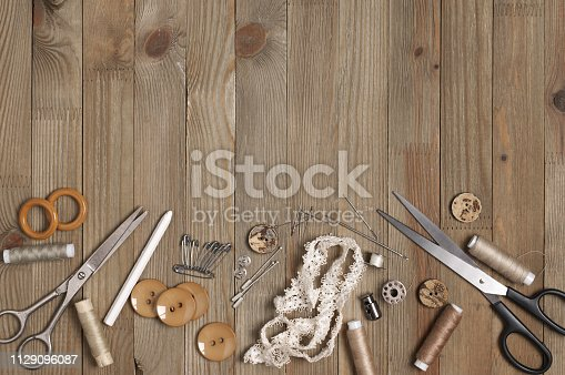 istock Set of sewing tools and accessories 1129096087