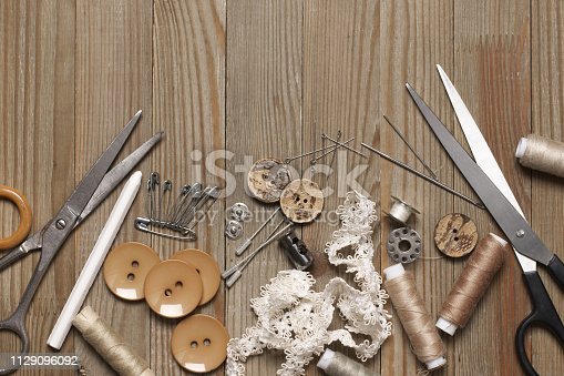istock Set of sewing tools and accessories 1129096092