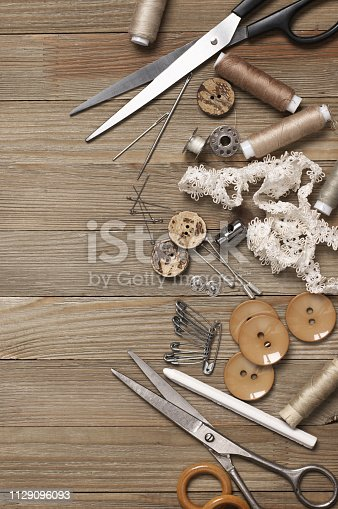 istock Set of sewing tools and accessories 1129096093