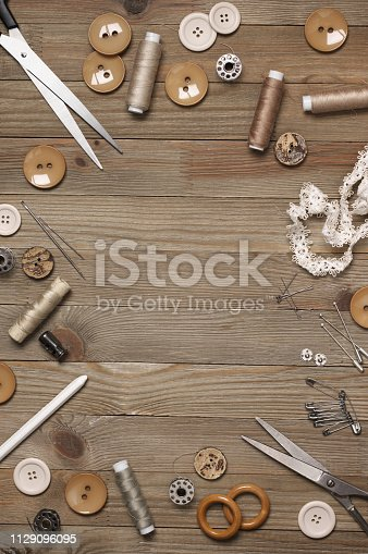 istock Set of sewing tools and accessories 1129096095