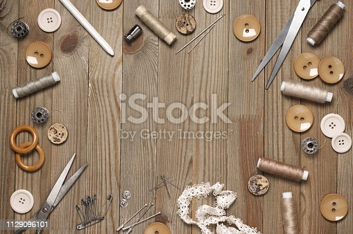 istock Set of sewing tools and accessories 1129096101