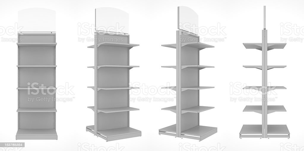 set of shop shelves isolated on white background stock photo