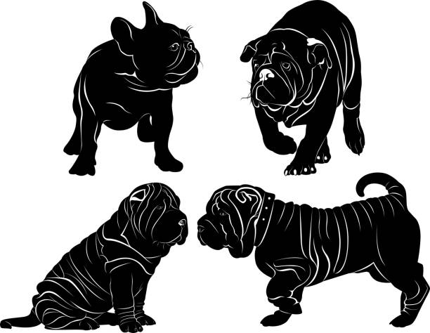 set of silhouettes of dogs stock photo