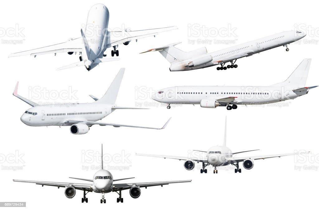 Ensemble de six avions isolés de l'arrière-plan - Photo