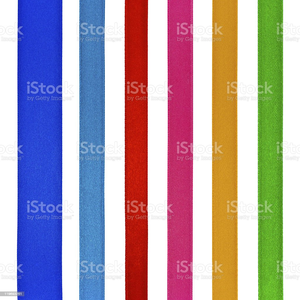 Set of six different color satin ribbons, isolated on white royalty-free stock photo