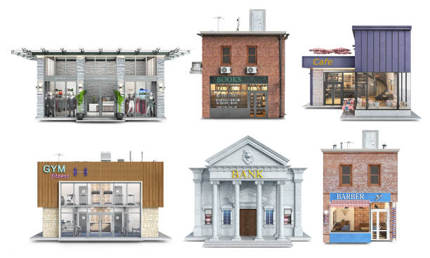 Set of six public buildings in different styles and color schemes, 3d illustration stock photo