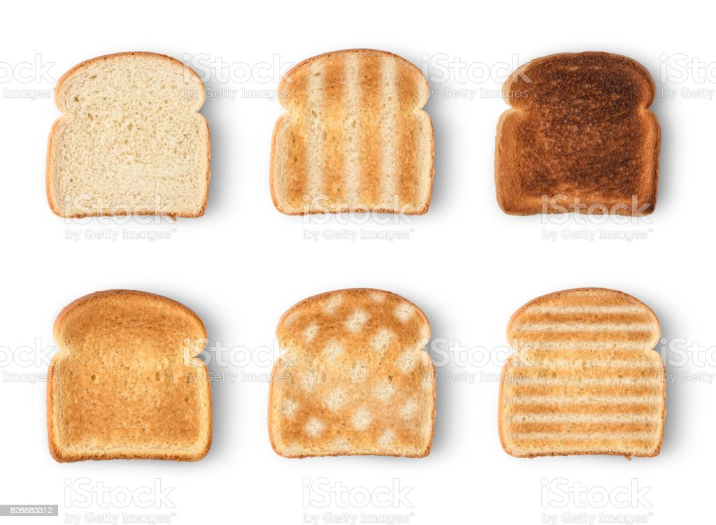 Set of six slices toast bread isolated on white background stock photo