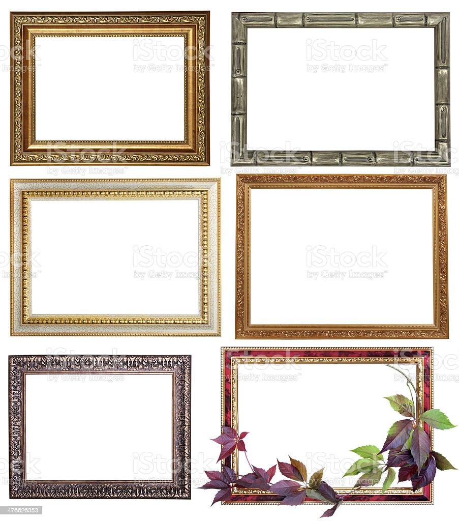 Set Of Six Vintage Frames Isolated On White Background Stock Photo ...