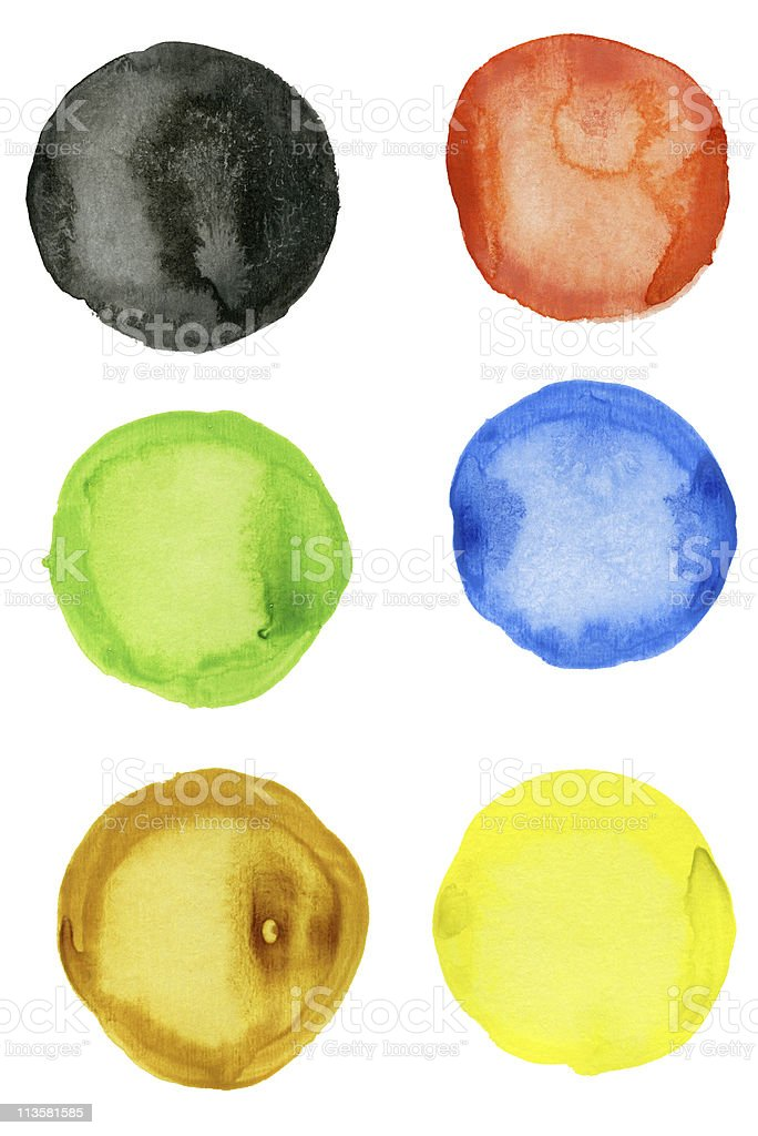 Set of six watercolor blobs over a white background royalty-free stock photo
