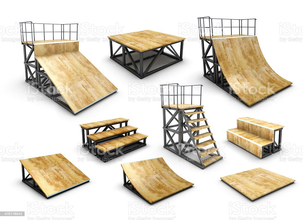 Set of skatepark element stock photo