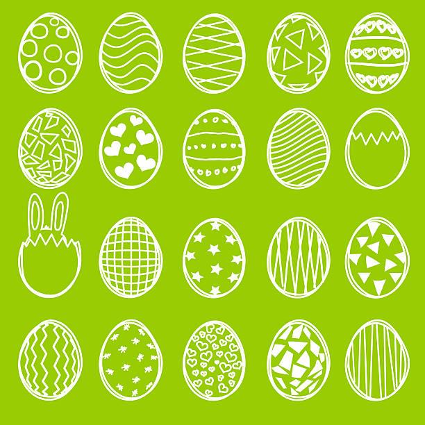 satz von gezeichnet ostern eier - osterhase zeichnen stock-fotos und bilder