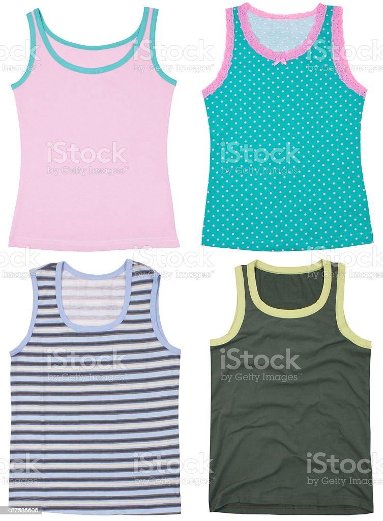 Set of sleeveless shirts. Isolated on white background stock photo