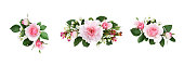 istock Set of small floral arrangements with pink rose flowers and green leaves 1262889624
