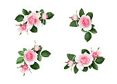 istock Set of small floral corner arrangements with pink rose flowers and green leaves 1069550712