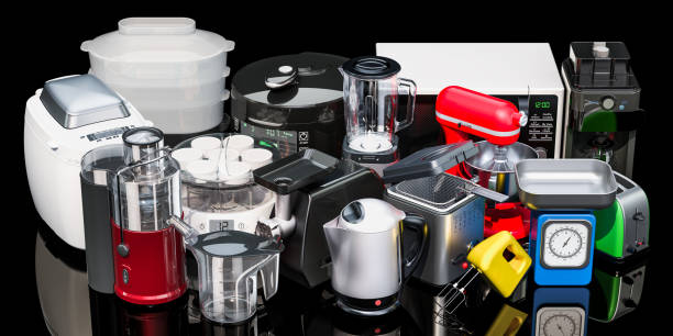 Set of small kitchen home appliances. 3D rendering isolated on black background stock photo