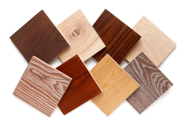 set of small samples of wooden parquet for the designer. isolated on white background stock photo