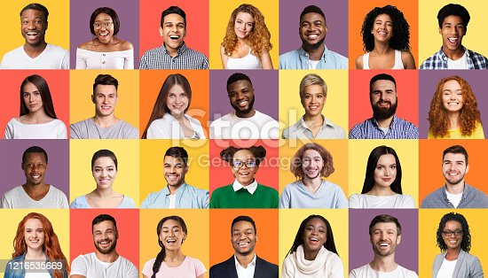 Set Of Successful Smiling Mixed People Faces Posing Over Colorful Backgrounds. Social Variety And Diversity Concept