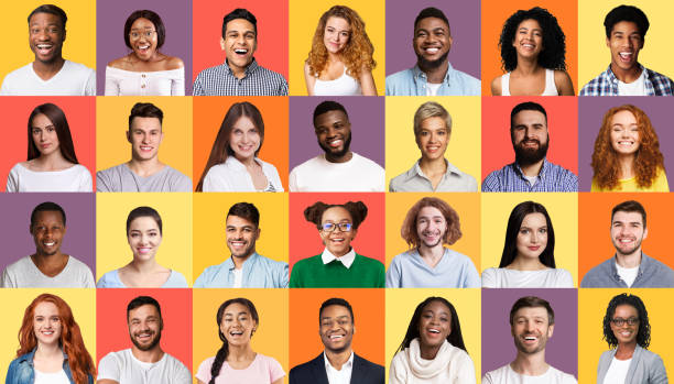 Set Of Smiling Mixed People Faces Posing Over Colorful Backgrounds stock photo