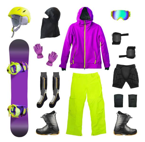 juego de snowboard y ropa - set deportivo fotografías e imágenes de stock