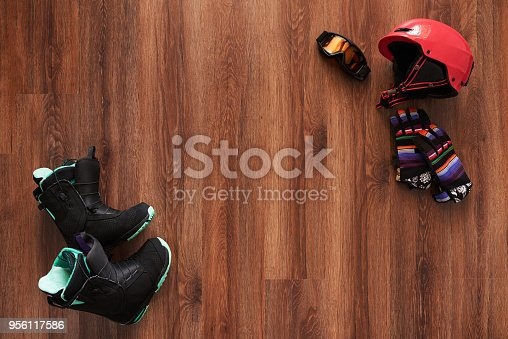 istock set of snowboard boots, helmet, gloves and mask 956117586