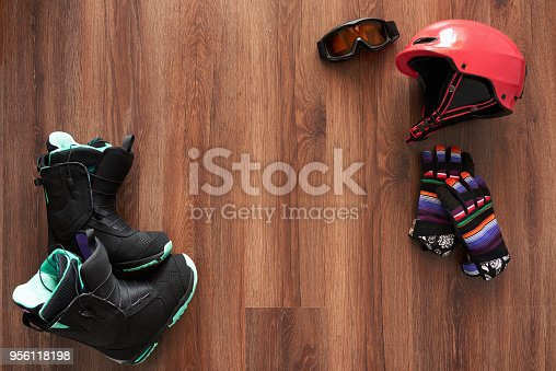 istock set of snowboard boots, helmet, gloves and mask 956118198