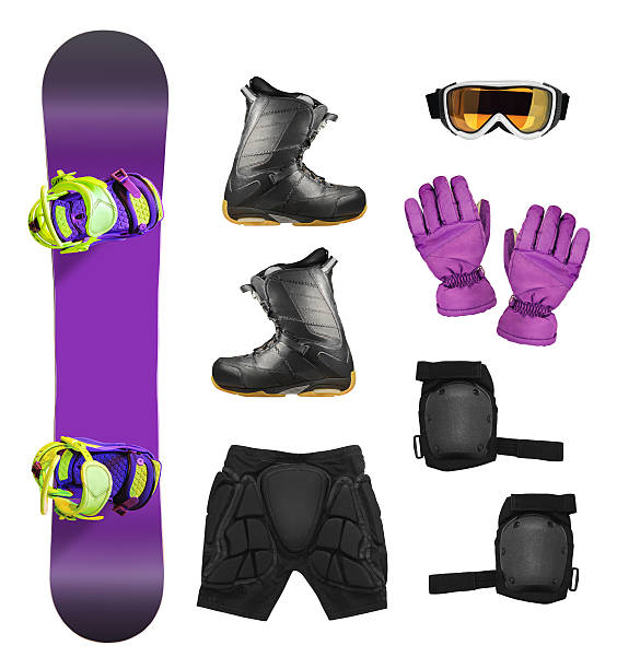 Set of snowboard equipment Set of snowboard equipment and protection accessories isolated on white background ski goggles stock pictures, royalty-free photos & images
