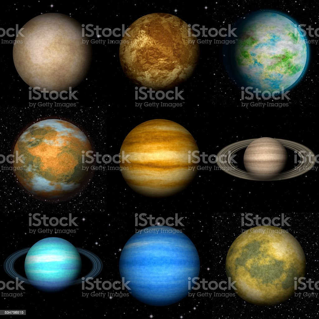 Set of Solar system planets generated textures stock photo