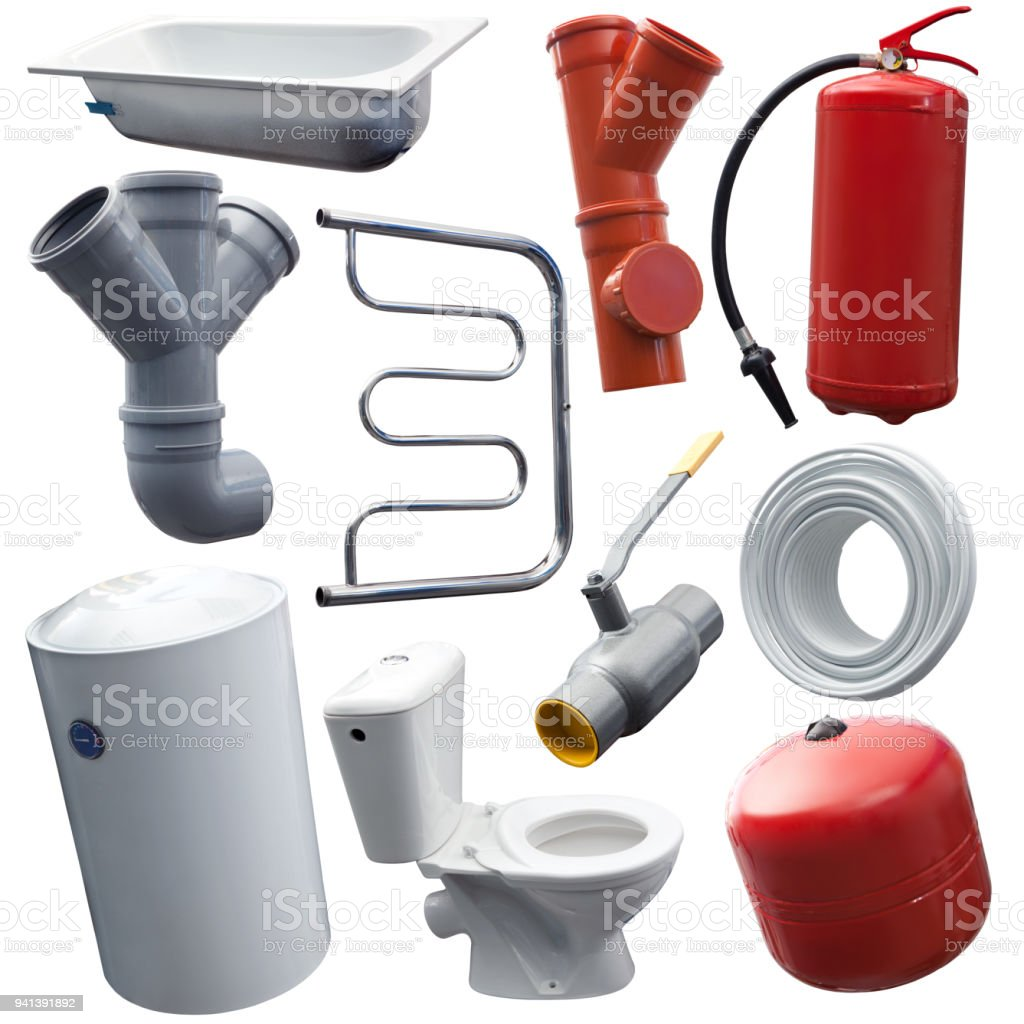 Set of some sanitary engineering objects for designers stock photo