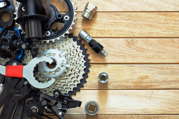 A set of spare parts and a tool for a bicycle stock photo
