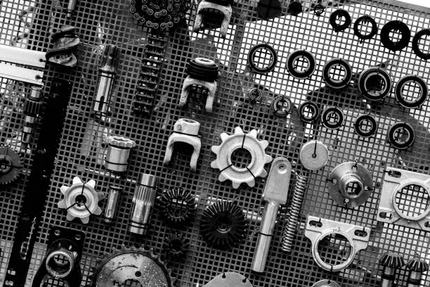 set of spare parts set of spare parts for agricultural machines black and white vehicle part stock pictures, royalty-free photos & images