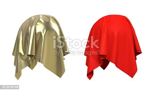 istock Set of spheres covered with fabric 3d illustration 912018748