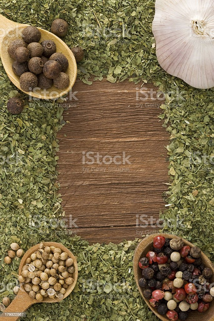 set of spices and spoon on wood royalty-free stock photo