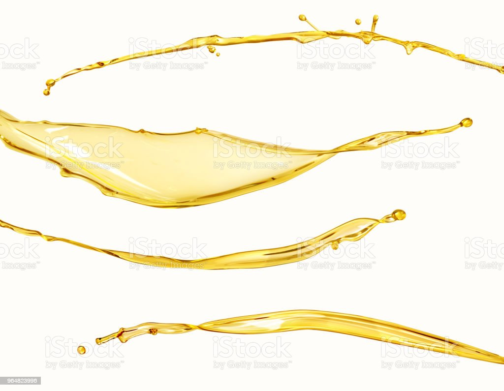 Set of splashes of oil on a white stock photo
