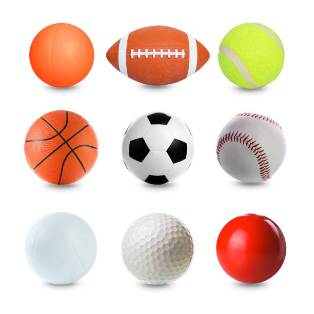 set of sports balls on white background - ball stock photos and pictures