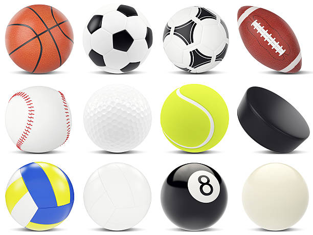 set of sports balls, soccer, basketball, rugby, tennis, volleyball, hockey - volleyball sport stock photos and pictures