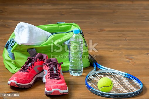 istock Set of sports facilities for playing tennis on the floor 687313164