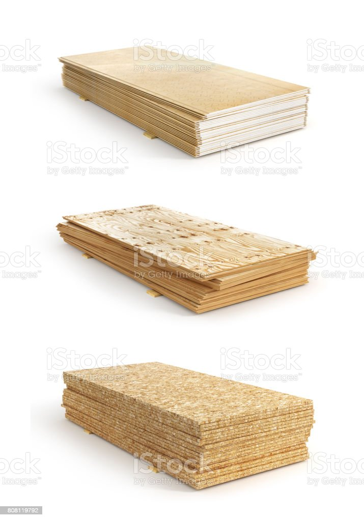 Set of stacks of different boards. OSB, plywood and gypsum board. 3d illustration stock photo