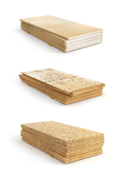 satz von stapel von verschiedenen brettern. osb, sperrholz und gipskarton. 3d illustration - schalung stock-fotos und bilder