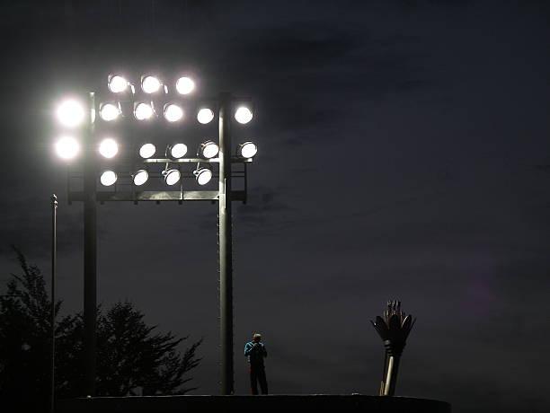 Set of Stadium Lights stock photo
