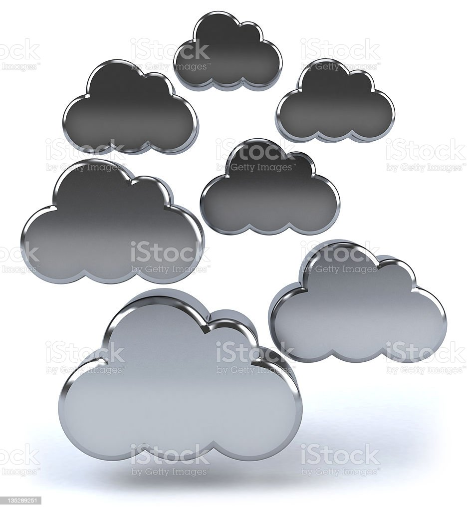 Set of stainless metal 3D clouds in white background royalty-free stock photo