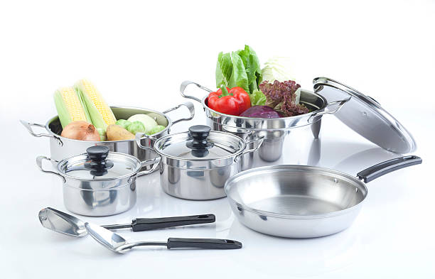 Set of stainless pots stock photo