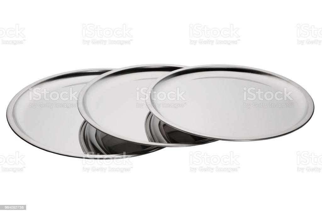 Set of stainless round trays - Zbiór zdjęć royalty-free (Antyczny)